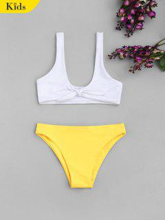 Knotted Two Tone Kinder Bikini - Weiß 8t