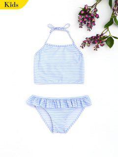 Striped Halter Ruffles Kids Bikini - Stripe 4t