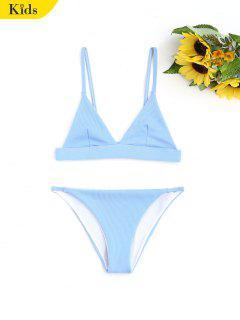 Cami Ribbed Texture Kids Bikini - Blue 7t
