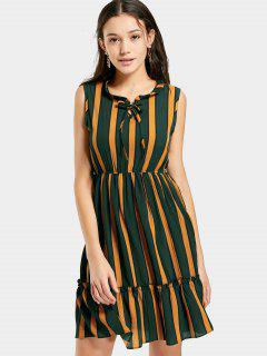 Chiffon Sleeveless Striped Dress - Green
