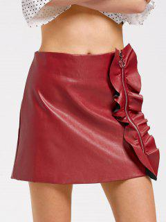 Ruffles Zip Up Faux Leather Mini Skirt - Wine Red M