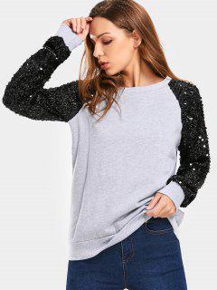 Sequined Raglan Sleeve Sweatshirt - Gray Xl