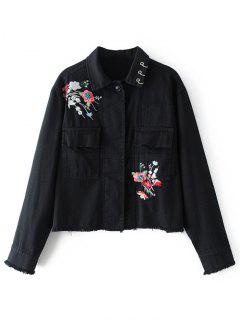 Beaded Floral Embroidered Denim Jacket - Black L
