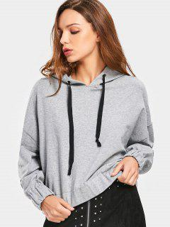 Plain Drop Shoulder Drawstring Hoodie - Gray L