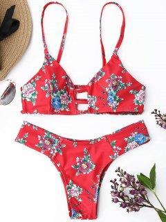 Strappy Floral Thong Bikini Set - Red L