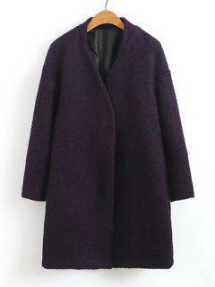 Snap Button Wool Blend Coat - Purple L