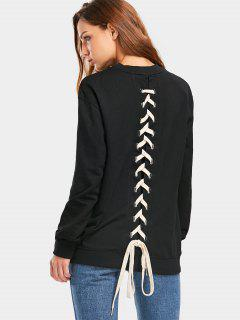 Zurück Lace Up Longline Weatshirt - Schwarz L