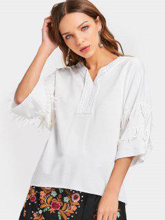 T-shirt à Encolure En V Frisé - Blanc Xl