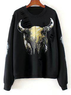 Sequins Graphic Distressed Sweatshirt - Black M