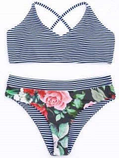 Ensemble De Bikini Rayé à Motifs Floraux - Rayure S