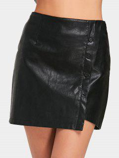 Button Embellished Asymmetric Faux Leather Skirt - Black M
