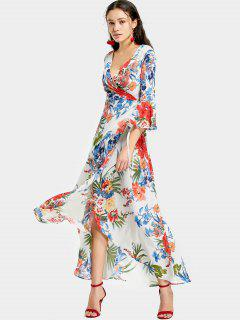 Slit Tropical Print Maxi Wrap Dress - White L