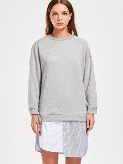 Drop Shoulder Patchwork Sweatshirt Dress - Gray