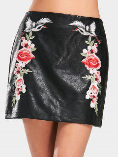Crane Floral Patched Faux Leather Skirt - Black L