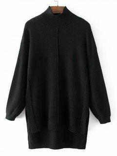 Long Mock Neck High Low Sweater - Black