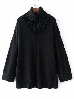 Long Drop Shoulder Turtleneck Sweater - Black