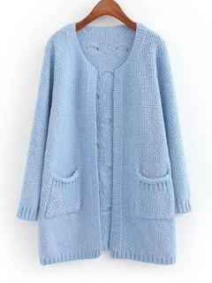 Sheer Pockets Open Front Cardigan - Light Blue