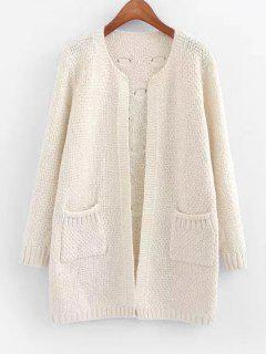 Sheer Pockets Open Front Cardigan - Off-white