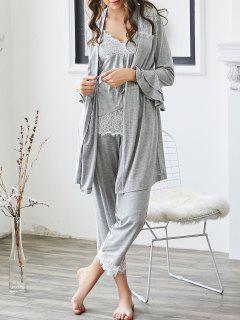 Loungewear Lace Trim Cami Top With Pants With Kimono - Gray Xl