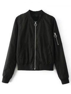 Zip Up Zippered Sleeve Bomber Jacket - Black S