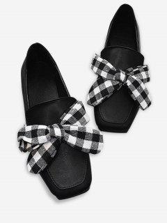 Slip On Bowknot Square Toe Flat Shoes - Black 36
