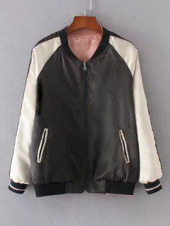 Zip Up Crane Embroidered Baseball Jacket - Black S