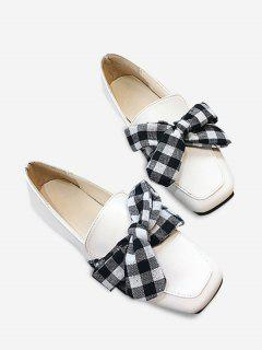 Slip On Bowknot Square Toe Flat Shoes - White 36