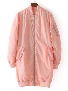 Long Zip Up Padded Coat - Pink S