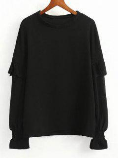 Smocked Sleeve Loose Ruffled Blouse - Black S