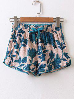 Drawstring Tropical High Waisted Shorts - Multicolor M