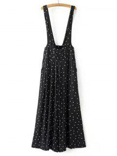 Polka Dot Suspender Wide Leg Pants - Black M