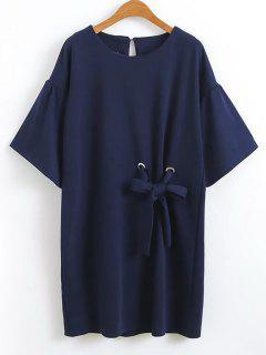 Ruffles Bowknot Shift Mini Vestido - Azul Purpúreo M