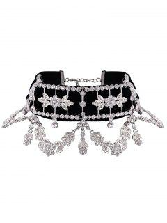 Alloy Rhinestone Leaf Flower Choker Necklace - Silver