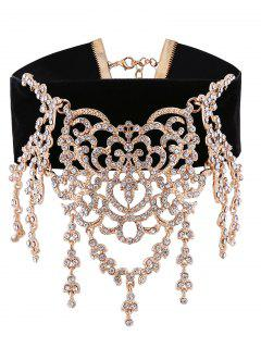 Sparkly Rhinestoned Chandelier Choker Necklace - Golden