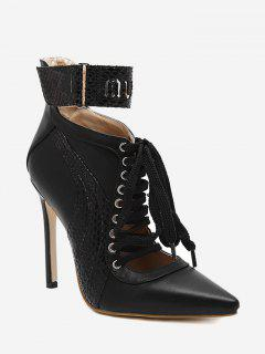 Stitching Pointed Toe Stiletto Ankle Boots - Black 40