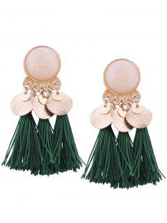 Faux Gem Leaf Disc Tassel Earrings - Green