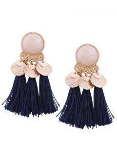 Faux Gem Leaf Disc Tassel Earrings - Navy Blue