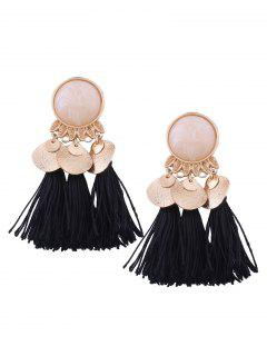 Faux Gem Leaf Disc Tassel Earrings - Black