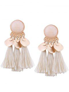 Faux Gem Leaf Disc Tassel Earrings - White