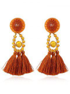 Bohemian Beaded Tassel Earrings - Yellow