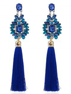 Faux Sapphire Tassel Geometric Earrings - Blue