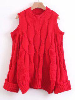 Curled Sleeve Cold Shoulder Cable Knit Sweater - Red
