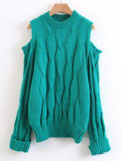Curled Sleeve Cold Shoulder Cable Knit Sweater - Green