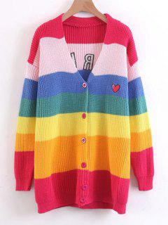 Stripes Button Up Heart Embroidered Sweater - Multicolor