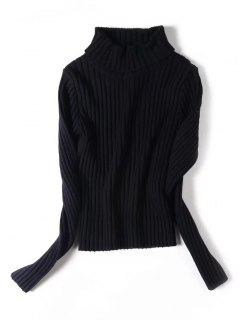 Stretchy Turtleneck Ribbed Sweater - Black S