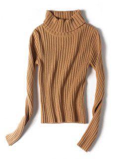 Stretchy Turtleneck Ribbed Sweater - Dark Khaki S