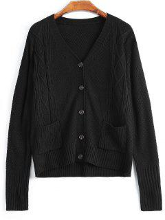 V Neck Button Up Cardigan With Pockets - Black S