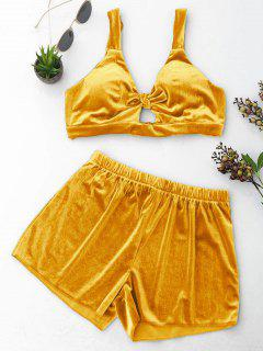 Cut Out Velvet Top And Shorts Set - Ginger M