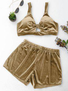 Cut Out Samt Top Und Shorts Set - Khaki L