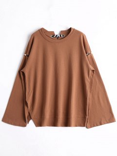 Beaded Ribbon Oversized Sweatshirt - Brown